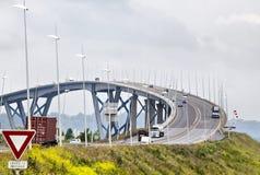 Normandie bro över floden Seine Arkivbild