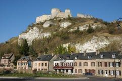 Normandie, de schilderachtige stad van Les Andelys Royalty-vrije Stock Afbeelding