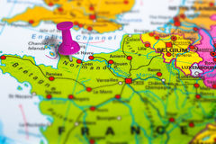 Normandie France map. Normandie in France pinned on colorful political map of Europe. Geopolitical school atlas. Tilt shift effect Stock Photos