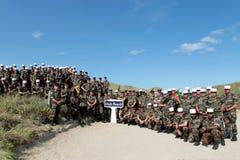 Normandie Frankrike - Maj 5, 2011 Ett regemente av utländska legionärer under en minnesvärd fotoperiod Arkivfoton