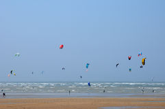 Normandie, kitesurfing on the coast of Houlgate Stock Images
