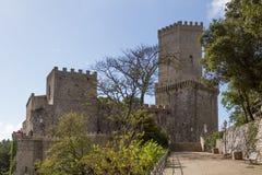 Normandisk slott i Erice Arkivfoton
