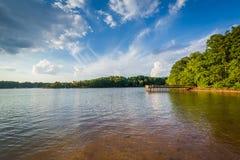 Normando del lago, en Ramsey Creek Park, en Cornelio, Carolina del Norte fotografía de archivo