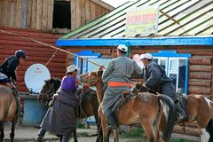 Normands arriving at Town of Ihtamir, Mongolia. Stock Photo