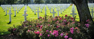 American cemetery in Omaha Beach, Normandy, France. royalty free stock images