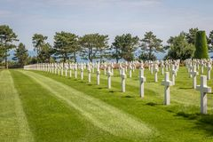 The Normandy American Cemetery at Omaha beach, Normandy, France royalty free stock image
