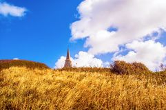 Normandy beach-chapel and blue sky Stock Image