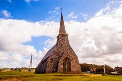 Normandy beach-chapel and blue sky Royalty Free Stock Images