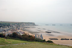 Normandy beach France. Scenic view of beach at low tide next to town, Normandy, France Royalty Free Stock Image