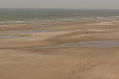 Normandy beauty golden beach - France. Stock Photos