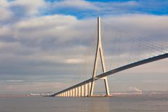 Normandy bridge view (Pont de Normandie, France) Royalty Free Stock Photos