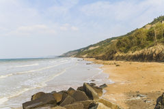 The Normandy coast. At high tide Royalty Free Stock Photo
