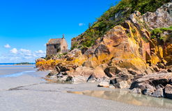 Normandy, France, Europe. Old stone church on a coast of Normandy, France, Europe stock image