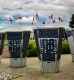 Normandy, France; 4 June 2014: Juno beach. Cementery museum flags canada day dday wwii second world war german stock photos