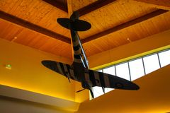 Normandy, France; 4 June 2014: Model of spitfire aircraft of the Second World War. view from below stock photos