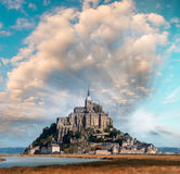 Normandy, France. Sunset view of Mont Saint-Michel.  Royalty Free Stock Photos