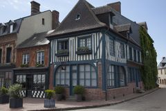Traditional house in medieval village of Beaumont en Auge in Normandy France stock photography