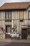 Traditional houses in medieval village of Beuvron en Auge in Normandy France royalty free stock photo