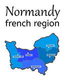 Normandy french region map Royalty Free Stock Photos