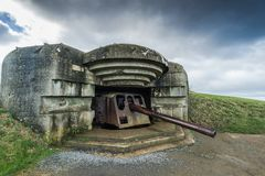 Normandy german defence artillery guns in France Royalty Free Stock Photo