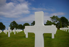 Normandy Graves. A cross at the graves in Normandy stock photography