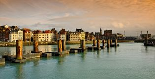 Normandy, harbor in dieppe city royalty free stock photography