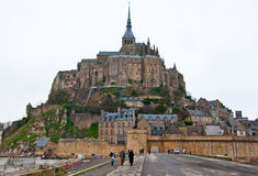 NORMANDY-JANUARY 7: Saint Michael's Mount  from the causeway in the winter. Normandy, France. Royalty Free Stock Images