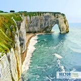 Normandy, Northern France, Europe. Spectacular natural cliffs Aval of Etretat and beautiful coastline. Stone arch. Landscape. Vect Royalty Free Stock Image