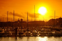 Normandy, sunset on Dieppe harbor Royalty Free Stock Photography