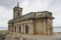 Normanton Church Museum on Rutland Water. Normanton Church Museum on the edge of Rutland Water. The local landmark was relocated to higher ground when the royalty free stock photo