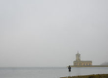Normanton kościół w mgle obraz royalty free