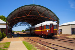 Normanton railway shed with Gulflander railmotor. Normanton railway station, outback Queensland with Gulflander rail-motor ready to depart to Croyden stock photography
