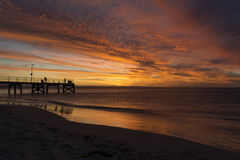 Normanville Jetty at Sunset Royalty Free Stock Images