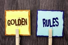 Normas de oro del texto de la escritura de la palabra El concepto del negocio para los principios de regla quita el corazón al pl fotografía de archivo libre de regalías