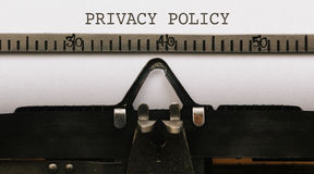Norme sulla privacy, testo su carta nel tipo d'annata scrittore dal 1920 s Immagini Stock