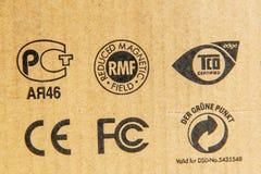 Normes diverses sur des boîtes en carton Photo stock