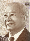 Norodom Sihanouk. (1922-2012) on 1000 Riels 2013 Banknote from Cambodia. King of Cambodia during 1941-1955 and 1993-2004 Royalty Free Stock Images