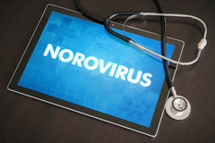Norovirus (infectious disease) diagnosis medical concept. On tablet screen with stethoscope Royalty Free Stock Photo