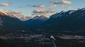 Norquay mountain view of Banff town. 4k stock footage