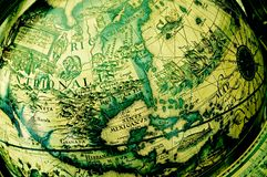 norr Amerika antikt jordklot royaltyfria bilder