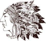 Norr - amerikansk indisk chef - illustration Royaltyfri Bild