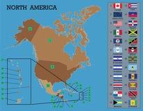 Norr - amerikanska översikt och flaggor stock illustrationer