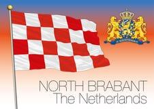 Norr Brabant regional flagga, Nederländerna, europeisk union royaltyfri illustrationer
