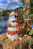 Norr Carolina Fall Wedding Cake Display Royaltyfria Foton