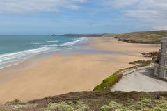 Norr Cornwall bästa strand Perranporth England UK fotografering för bildbyråer