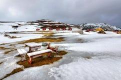 Norr läger i vintersäsong Arkivfoto