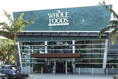 NORR MIAMI, FL, USA - JUNI 17th, 2017: Whole Foods marknadssupermarket Arkivbilder