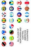 Norr och central amerikanska flagganuppsättning Arkivfoto