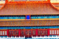 Norr röd ingångsguling taklägger den Forbidden City Peking Kina Arkivbild