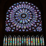 Norr Rose Window Mary Jesus Stained Glass Notre Dame Cathedral Paris France Arkivbilder